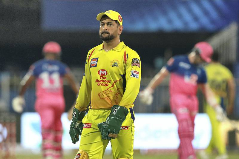 Mahendra Singh Dhoni captain of CSK during match 4 of season 13 of the Indian Premier League (IPL) between Rajasthan Royals  and Chennai Super Kings held at the Sharjah Cricket Stadium, Sharjah in the United Arab Emirates on the 24th September 2020.  Photo by: Rahul Gulati  / Sportzpics for BCCI