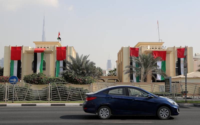 DUBAI , UNITED ARAB EMIRATES , NOV 1   – 2017  :- People decorated their villas on Jumeirah beach road with UAE flags for the Flag Day celebrations which is happening tomorrow in Dubai. (Pawan Singh / The National)