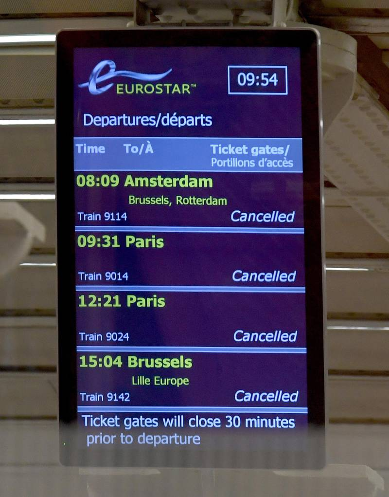 epa08897545 A screen showing cancellations at the Eurostar terminal at Kings Cross St.Pancras train station in London, Britain, 21 December 2020. France has become the latest country to ban air and rail travel from the UK following news of the new variant Covid-19 that has spread rapidly across London and south-east England. Most of the countries in the EU have suspended flights to and from the UK in the light of this mutated coronavirus strain.  EPA/FACUNDO ARRIZABALAGA