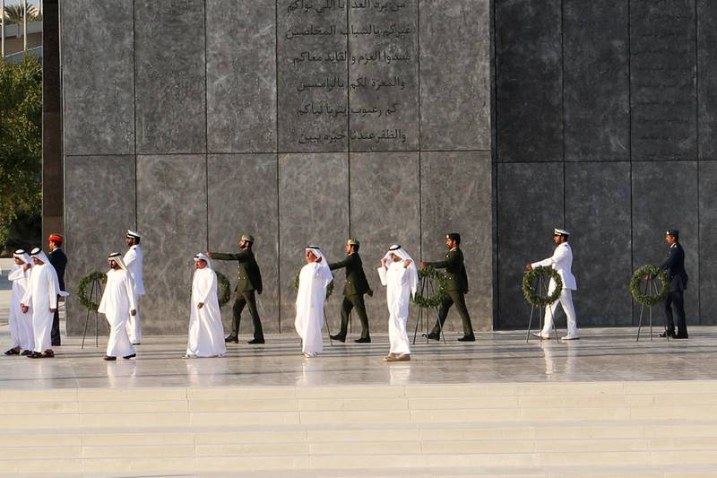 ABU DHABI, UNITED ARAB EMIRATES - - -  November 30, 2016 ---  Abu Dhabi celebrated its first Commemoration Day at the Wahat Al Karama memorial in Abu Dhabi on Wednesday, November 30, 2016, along with the Rulers of the United Arab Emirates, VIPs, and UAE residents and visitors.   ( DELORES JOHNSON / The National )   ID: 53401 Reporter: Thamer Section: NA *** Local Caption ***  DJ-301116-NA-Commemoration Day-53401-027.jpg