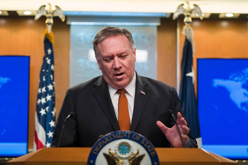 epa08027074 US Secretary of State Mike Pompeo speaks to the media about numerous issues, including the impeachment inquiry and economic protests in Iran, from the State Department in Washington, DC, USA, 26 November 2019. Pompeo also lent support to President Trump's desire to investigate Ukraine over the long-debunked conspiracy that Ukraine may have hacked DNC servers before the last election.  EPA/JIM LO SCALZO