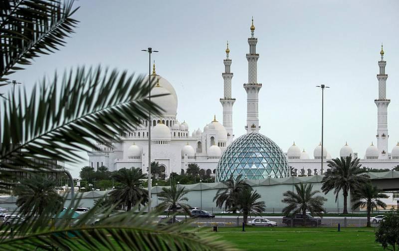 Abu Dhabi, United Arab Emirates, March 16, 2020.  Gloomy weather and light rain showers at the Sheikh Zayed Grand Mosque, Abu Dhabi.Victor Besa / The National