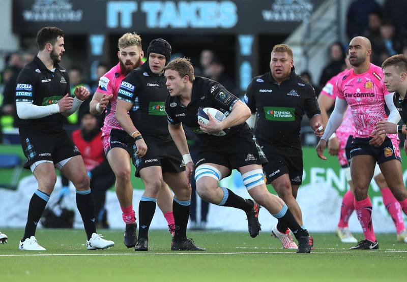 GLASGOW, SCOTLAND - JANUARY 20: Jonny Gray of Glasgow Warriors runs with the ball during the European Rugby Champions Cup match between Glasgow Warriors and Exeter Chiefs at Scotstoun Stadium on January 20, 2018 in Glasgow, Scotland. (Photo by Ian MacNicol/Getty Images)
