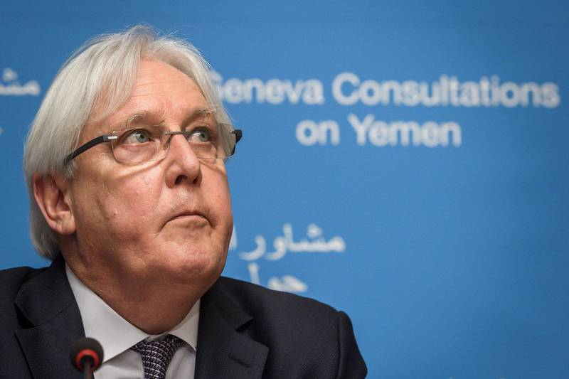 """United Nations special envoy for Yemen Martin Griffiths gives a press conference on September 5, 2018, ahead of peace talks with the government and Huthi rebels in Geneva. - Yemen's Huthi rebels said on September 5, 2018 they were stranded in the capital Sanaa on the eve of United Nations-sponsored peace talks in Geneva with their government rivals. The Huthis said the UN had been unable to """"secure authorisation"""" from a Saudi-led coalition backing the government for a plane to transport the rebel delegation and wounded insurgents out of the country, according to the Huthis' Al-Masirah TV. While the Huthis control Sanaa and much of northern Yemen, the coalition controls the country's airspace. (Photo by Fabrice COFFRINI / AFP)"""