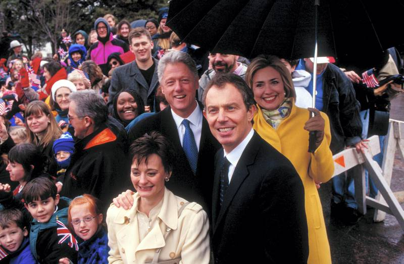 Pres. Bill & Hillary Rodham Clinton & their White House guests British PM Tony & Cherie Blair (fore) framed by crowd during visit to FDR memorial.  (Photo by Dirck Halstead/The LIFE Images Collection via Getty Images/Getty Images)