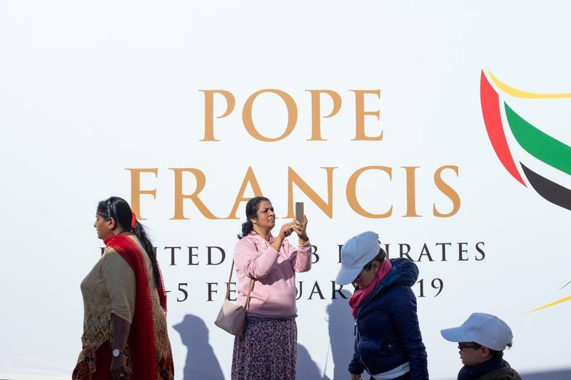 ABU DHABI, UNITED ARAB EMIRATES - FEBRUARY, 5 2019.Catholics attends the first papal mass on Arabian Peninsula, led by Pope Francis.(Photo by Reem Mohammed/The National)Reporter: Section:  NA