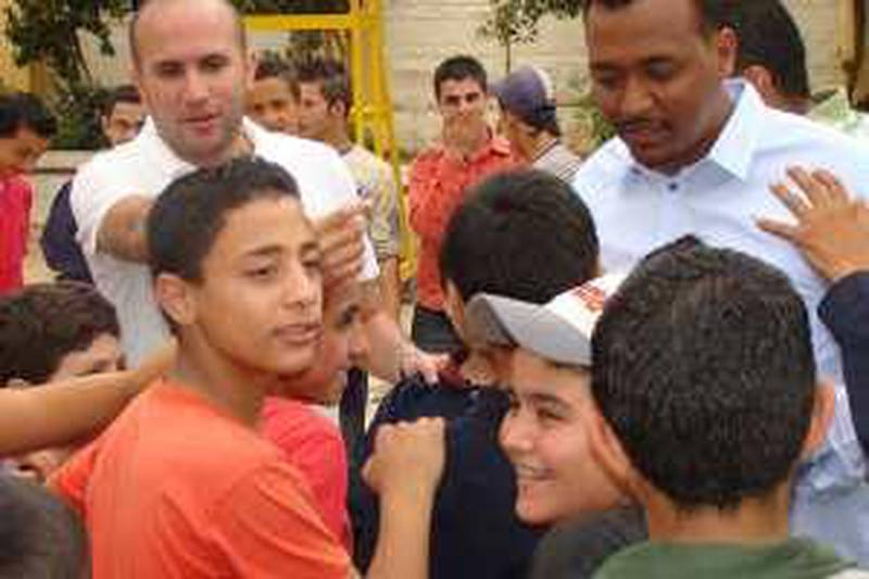 Provided photo of Khaled Diab (left) and Khaled al Nahdi (right) in a scene from the reality television show Mujaddidun (revivers)Courtesy Right Start InternationalFoundation, UK