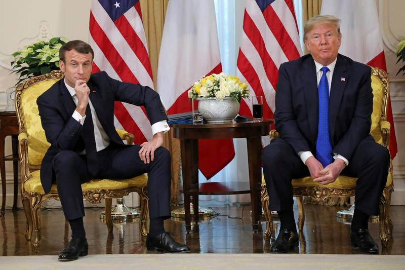 U.S. President Donald Trump meets with France's President Emmanuel Macron, ahead of the NATO summit in Watford, in London, Britain, December 3, 2019. Ludovic Marin/Pool via REUTERS