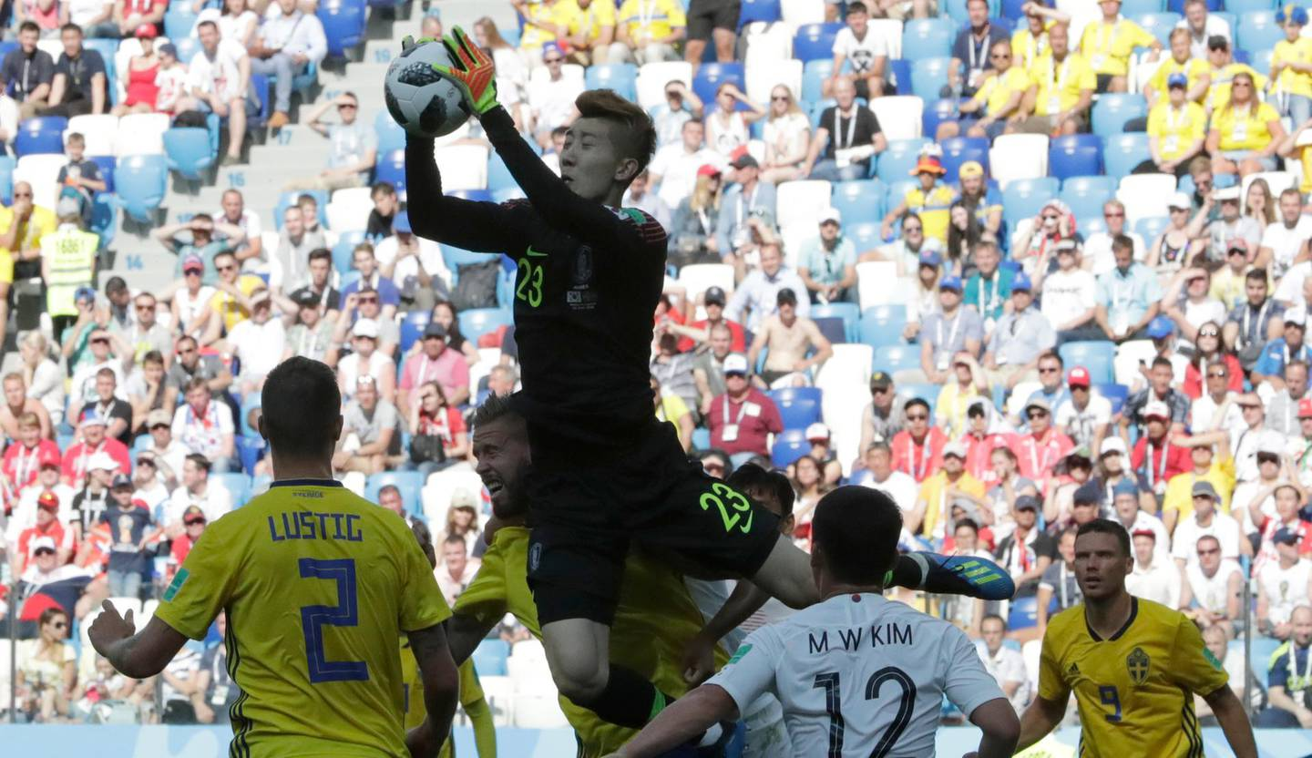 South Korea goalkeeper Jo Hyun-woo, saves a ball during the group F match between Sweden and South Korea at the 2018 soccer World Cup in the Nizhny Novgorod stadium in Nizhny Novgorod, Russia, Monday, June 18, 2018. (AP Photo/Lee Jin-man)