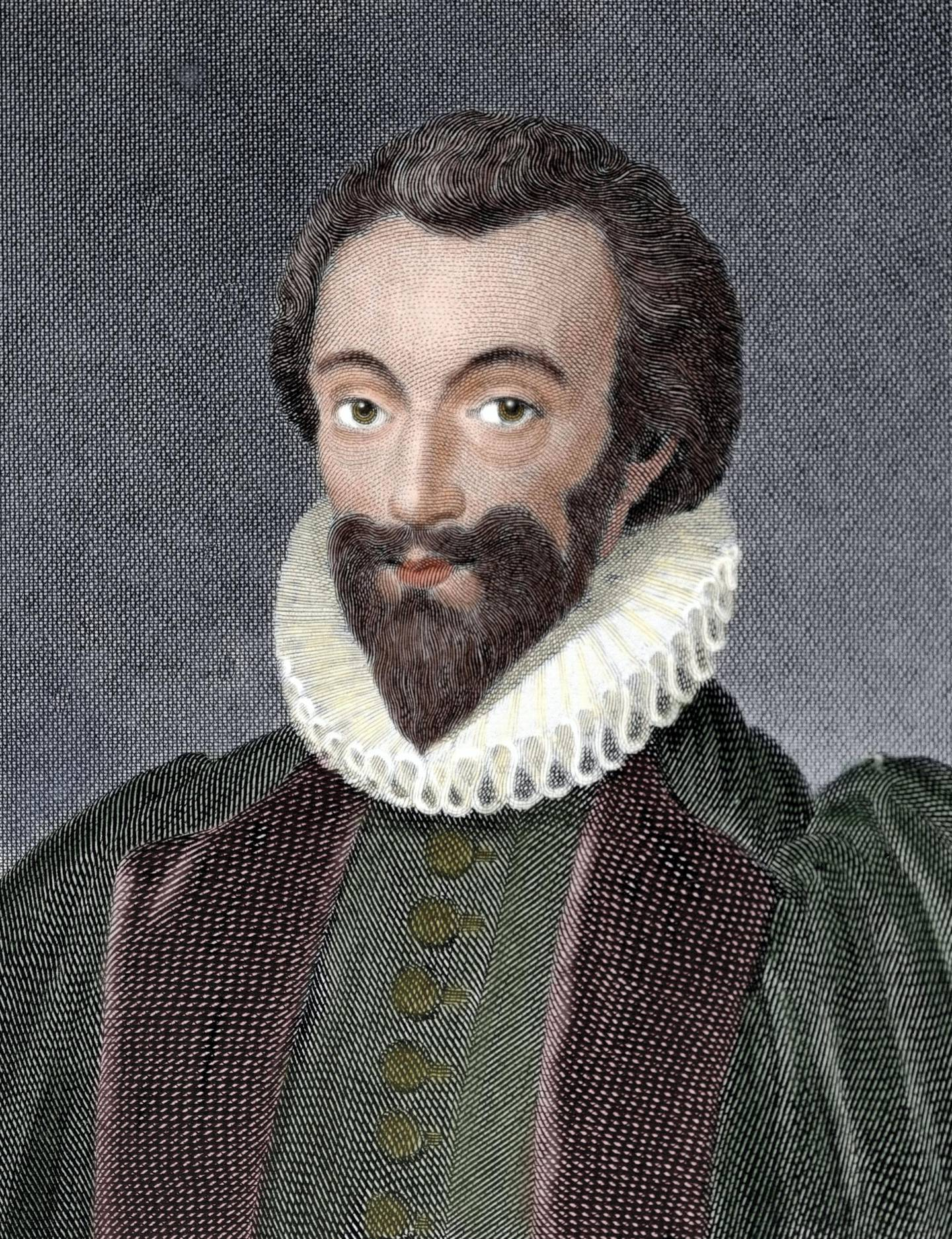 John Donne (1572- 1631) English poet, satirist, lawyer and a cleric in the Church of England. He is considered the pre-eminent representative of the metaphysical poets. Engraving by W. Bromley. Colored. (Photo by Ipsumpix/Corbis via Getty Images)