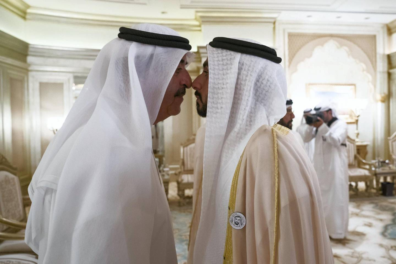 ABU DHABI, UNITED ARAB EMIRATES -  February 21, 2018: HH Sheikh Saud bin Rashid Al Mu'alla, UAE Supreme Council Member and Ruler of Umm Al Quwain (L), attends the wedding of Abdullah Saeed bin Omeir Al Mehairi (R), who is marrying the daughter of HE Jaber Al Suwaidi, General Director of the Crown Prince Court - Abu Dhabi (not shown). Seen at Emirates Palace. ( Ryan Carter for the Crown Prince Court - Abu Dhabi ) ---