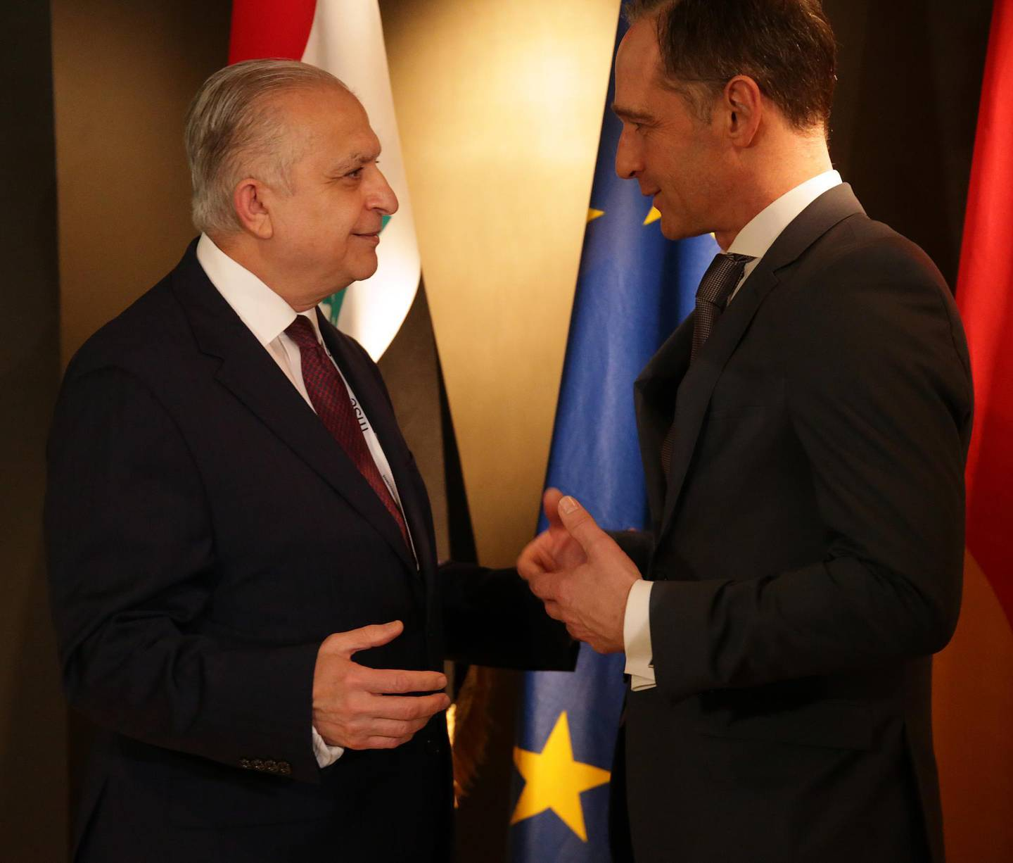 MUNICH, GERMANY - FEBRUARY 14: Mohamed Ali Al-Hakim (L), minister of foreign affairs of Iraq and his German colleague Heiko Maas meet for a bilateral meeting at the 2020 Munich Security Conference (MSC) on February 14, 2020 in Munich, Germany. The annual conference brings together global political, security and business leaders to discuss pressing issues, which this year include climate change, the US commitment to NATO and the spread of disinformation campaigns. (Photo by Johannes Simon/Getty Images)