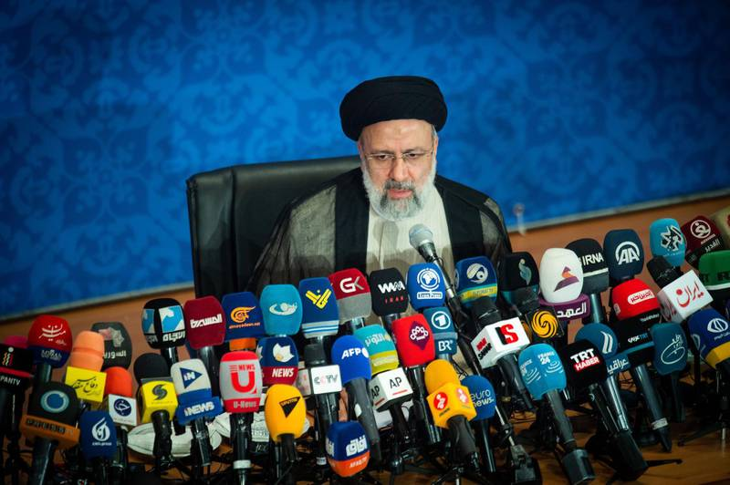 Ebrahim Raisi, Iran's president, holds his first news conference following his victory in the presidential election in Tehran, Iran, on Monday, June 21, 2021. World powers and Iran failed after a sixth round of negotiations in Vienna to revive a nuclear deal that would lift U.S. sanctions on the oil-rich Islamic Republic in exchange for it scaling back its atomic activities. Photographer: Ali Mohammadi/Bloomberg