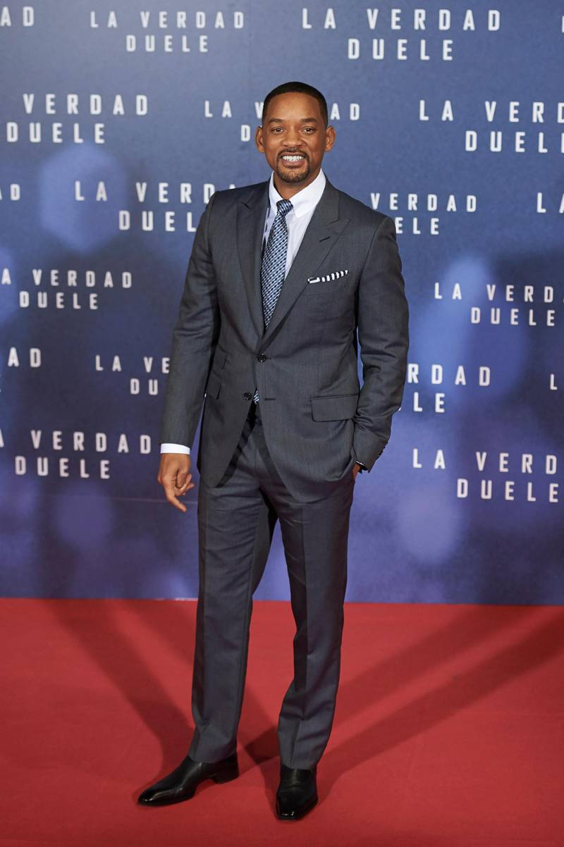 MADRID, SPAIN - JANUARY 27:  Actor Will Smith attends the Concussion (La Verdad Duele) premiere at the Callao cinema on January 27, 2016 in Madrid, Spain.  (Photo by Carlos Alvarez/Getty Images)