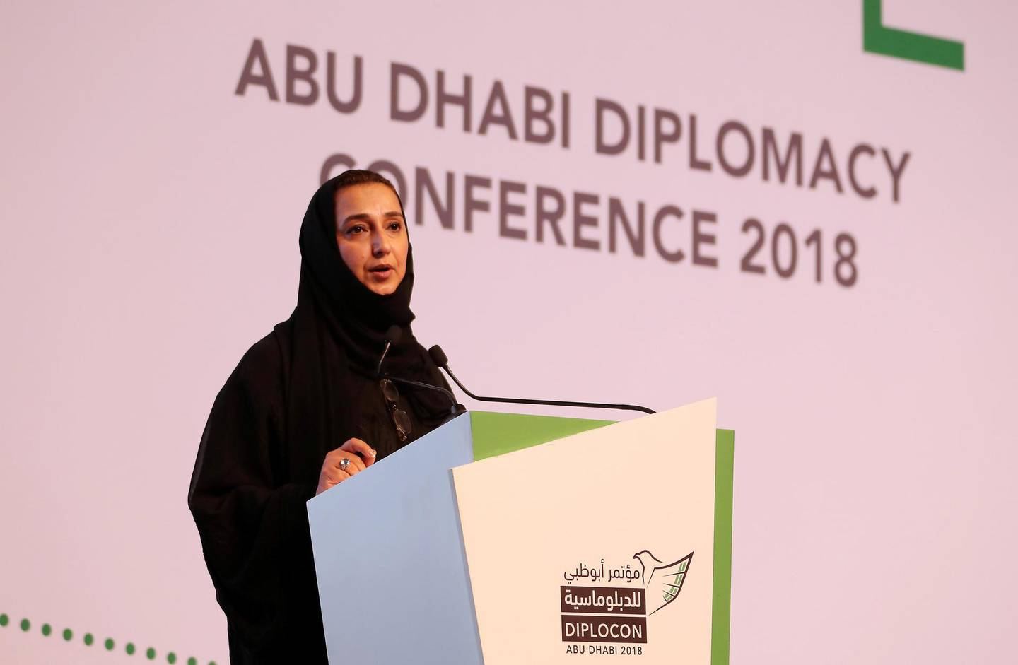 ABU DHABI , UNITED ARAB EMIRATES , November 14  – 2018 :- Dr. Nawal Al-Hosany , Permanent Representative of the UAE to the International Renewable Energy Agency (IRENA) and Deputy Director General of the Emirates Diplomatic Academy speaking at the Diplocon , Abu Dhabi Diplomacy Conference 2018 held at the St. Regis Saadiyat Island Resort in Abu Dhabi. ( Pawan Singh / The National ) For News. Story by Gill Duncan / Daniel Sanderson