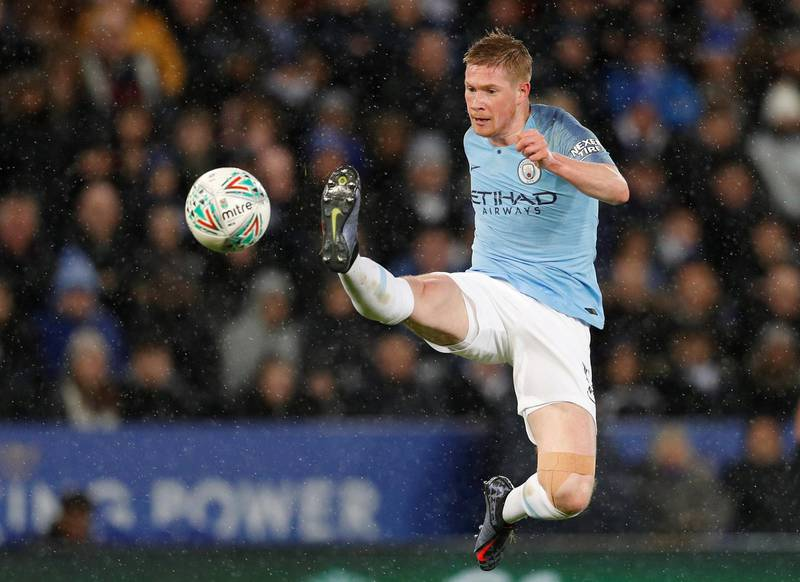 """Soccer Football - Carabao Cup Quarter-Final - Leicester City v Manchester City - King Power Stadium, Leicester, Britain - December 18, 2018  Manchester City's Kevin De Bruyne in action         REUTERS/Darren Staples  EDITORIAL USE ONLY. No use with unauthorized audio, video, data, fixture lists, club/league logos or """"live"""" services. Online in-match use limited to 75 images, no video emulation. No use in betting, games or single club/league/player publications.  Please contact your account representative for further details.     TPX IMAGES OF THE DAY"""
