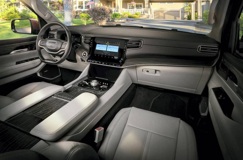 All-new 2022 Wagoneer features the pinnacle of premium SUV interiors with a modern American style and Uconnect 5 10.1-inch touchscreen radio.
