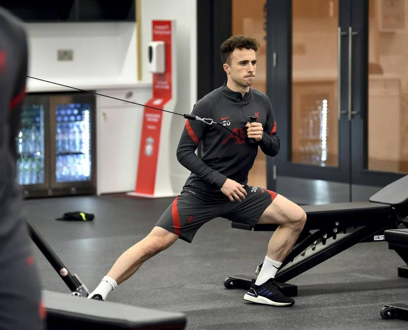 KIRKBY, ENGLAND - NOVEMBER 19: (THE SUN OUT, THE SUN ON SUNDAY OUT) Diogo Jota of Liverpool during a gym training session at AXA Training Centre on November 19, 2020 in Kirkby, England. (Photo by Andrew Powell/Liverpool FC via Getty Images)