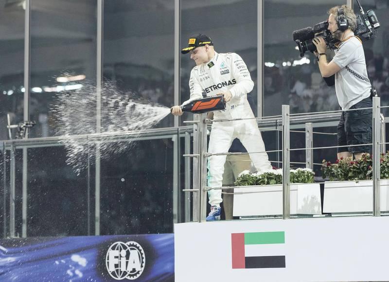 Abu Dhabi, United Arab Emirates, November 26, 2017:    Valtteri Bottas of Finland and Mercedes GP celebrates winning the Abu Dhabi Formula One Grand Prix at Yas Marina Circuit in Abu Dhabi on November 26, 2017. Christopher Pike / The National  Reporter: John McAuley, Graham Caygill Section: Sport