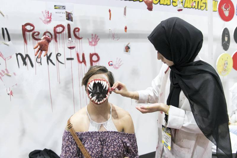 DUBAI, UNITED ARAB EMIRATES - APRIL 7, 2018.   Nouf Al Shaya, a young Emirati makeup artist, at the Middle East Film and Comic Con.  (Photo by Reem Mohammed/The National)  Reporter: Section: NA