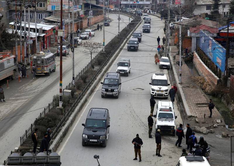 epa08113774 A motorcade of envoys from Latin American and African countries drives through Peerbagh road in Srinagar, Kashmir, India, 09 January 2020. A 16-member delegation is visiting Kashmir to assess the ground situation. This is the second visit of foreign delegations to Kashmir since the abrogation of Article 370 on 05 August 2019.  EPA/FAROOQ KHAN