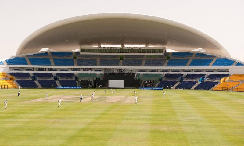 MCC's Jon Lewis runs in to bowl the first ball of the English season during the LV County Championship match at Sheikh Zayed Stadium, Abu Dhabi.   (Photo by Gareth Copley/PA Images via Getty Images)