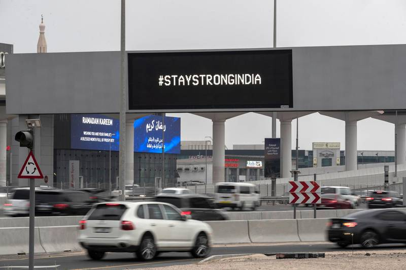 Billboards along Sheikh Zayed highway and other roads in dubai display a message to India to stay strong, #staystrongindia on April 29 th, 2021. Antonie Robertson / The National.Reporter: None for National.
