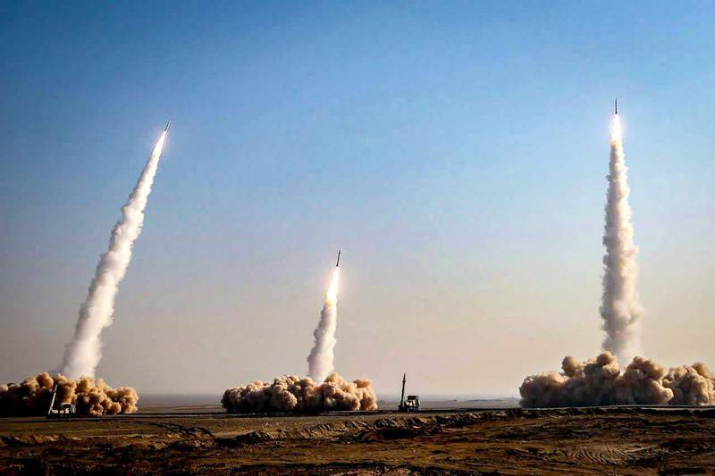 """This handout photo provided by Iran's Revolutionary Guard Corps (IRGC) official website via SEPAH News on January 15, 2021, shows a launch of missiles during a military drill in an unknown location in central Iran. - Iran's Revolutionary Guards  launched a missile and drone drill in central Iran, their official website reported, marking the third exercise held by the country's military in almost two weeks. (Photo by - / SEPAH NEWS / AFP) / / XGTY / RESTRICTED TO EDITORIAL USE - MANDATORY CREDIT """"AFP PHOTO / Iran's Revolutionary Guard via SEPAH NEWS"""" - NO MARKETING - NO ADVERTISING CAMPAIGNS - DISTRIBUTED AS A SERVICE TO CLIENTS"""
