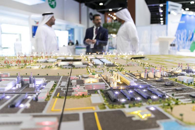 ABU DHABI, UNITED ARAB EMIRATES - JANUARY 14, 2019.Model of Al Taweelah Power and Desalination complex at World Future Energy Summit (WFES) Expo in ADNEC during Abu Dhabi Sustainability Week (ADSW).Under the theme of ���Industry Convergence: Accelerating Sustainable Development���, ADSW 2019 will explore how industries are responding to the digital transformation underway in the global economy, which in turn is giving rise to new opportunities to address global sustainability challenges.(Photo by Reem Mohammed/The National)Reporter: Section:  NA