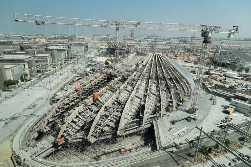 Dubai, United Arab Emirates - October 21, 2019: UAE Pavilion. Exclusive site tour of Expo 2020. The Global Media briefing will introduce the world's media to The Worl's Greatest Show. Monday the 21st of October 2019. JVC, Dubai. Chris Whiteoak / The National