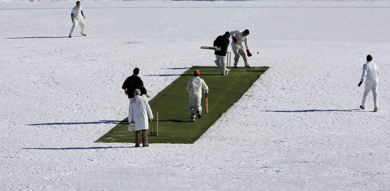 ST. MORITZ, SWITZERLAND - FEBRUARY 02:  Winterthur XI play Old Salopians XI during the 19th Cricket Tournament on Ice held on the frozen surface of Lake St. Moritz on February 2, 2007 in St. Moritz, Switzerland. The tournament first took place in 1988, when a group of Britons challenged the students of the international boarding school Lyceum Alpinum Zuoz to a game. Since then it has become an integral part of the cricket calendar, attracting international players and high-flying businessmen from all over the world. (Photo by Scott Barbour/Getty Images)