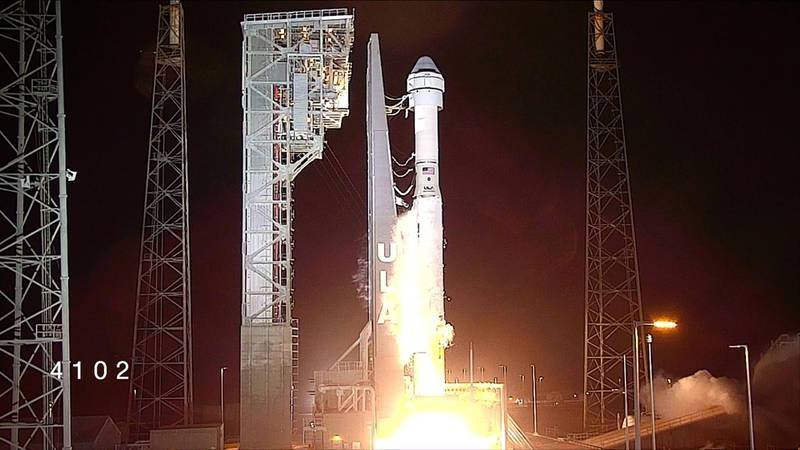 The Boeing CST-100 Starliner spacecraft, atop an ULA Atlas V rocket, launches during an uncrewed Orbital Flight Test to the International Space Station from launch complex 40 at the Cape Canaveral Air Force Station in Cape Canaveral, Florida in a still image from video December 20, 2019. NASA TV via REUTERS.  THIS IMAGE HAS BEEN SUPPLIED BY A THIRD PARTY.