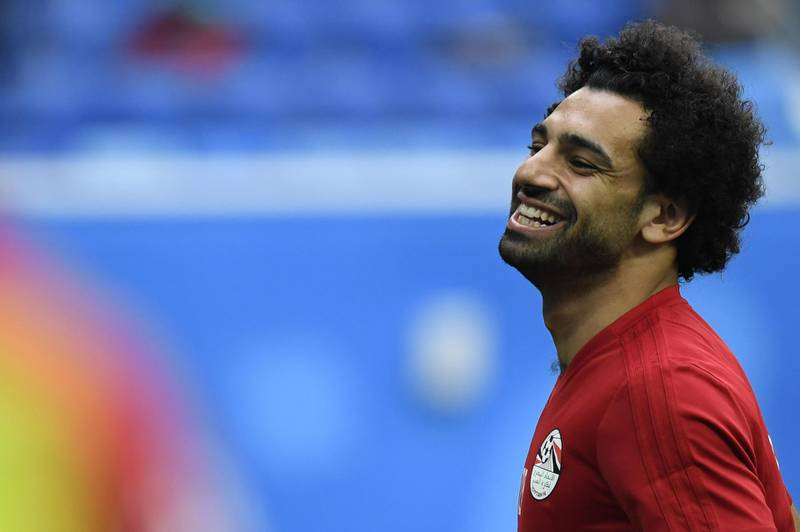 Egypt's forward Mohamed Salah attends a training session on June 18, 2018 in Saint Petersburg during the Russia 2018 World Cup football tournament.  / AFP / CHRISTOPHE SIMON