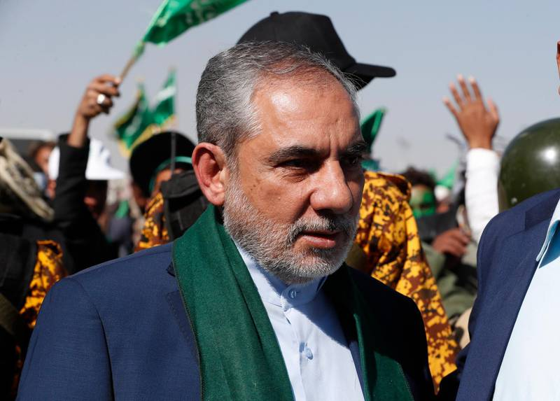 epa08870849 Hassan Irloo (C), Iran's newly appointed envoy to the Houthi-controlled areas of Yemen, attends a Mawlid celebration at a square in Sana'a, Yemen, 29 October 2020 (Issued 08 December 2020). According to reports, the United States has imposed terrorism-related sanctions on Hassan Irloo, Iran's newly appointed envoy to the Houthi-controlled northern areas of Yemen.  EPA/YAHYA ARHAB
