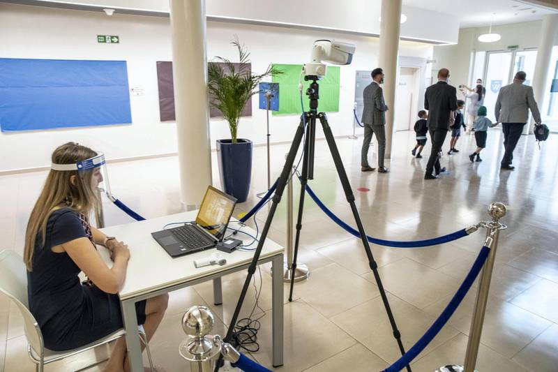 DUBAI, UNITED ARAB EMIRATES. 30 AUGUST 2020. STANDALONE. First day of school. Gems Wellington Academy in Al Khail opens for the start of the school year. Heat monitoring at the school building entrance. (Photo: Antonie Robertson/The National) Journalist: Anna Zacharias. Section: National.