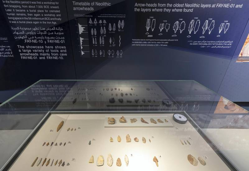 Sharjah, United Arab Emirates - July 10, 2019: Weekend's postcard section. Stone tools at are 10,000 years old at the Mleiha Archaeological Centre. Wednesday the 10th of July 2019. Maleha, Sharjah. Chris Whiteoak / The National