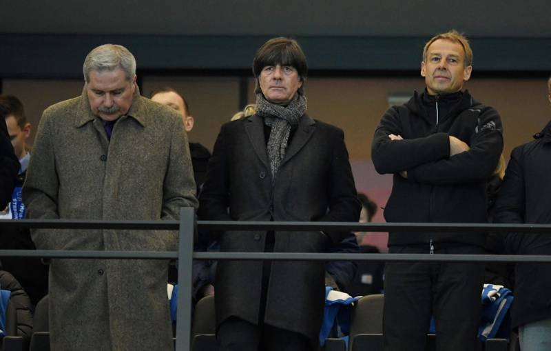 Soccer Football - Bundesliga - Hertha BSC v Borussia Dortmund - Olympiastadion, Berlin, Germany - March 16, 2019  Germany coach Joachim Low watchs from the stand   REUTERS/Annegret Hilse  DFL regulations prohibit any use of photographs as image sequences and/or quasi-video