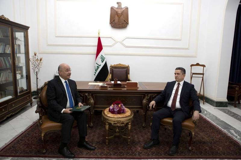 Iraq's President Barham Salih meets with new prime minister-designate Adnan al-Zurfi in Baghdad, Iraq March 17, 2020.  The Presidency of the Republic of Iraq Office/Handout via REUTERS ATTENTION EDITORS - THIS IMAGE WAS PROVIDED BY A THIRD PARTY.