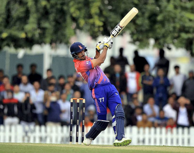 Dubai, February, 03,2019: Paras Khadka Captain of Nepal Cricket teamin action during the final T20 match against UAE at the ICC Global Academy in Dubai. Satish Kumar/ For the National / Story by Paul Radley