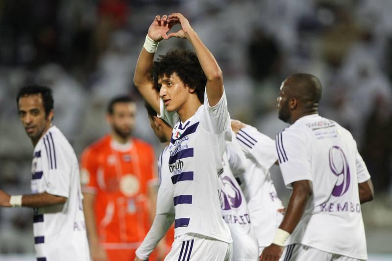 Al Ain, United Arab Emirates, Jan 26, 2013 - Omar Abdulrahman from Al Ain celebrate his goal (3-0) against  Ajman at Tahnon bin Mohamed Stadium.  ( Jaime Puebla / The National Newspaper )