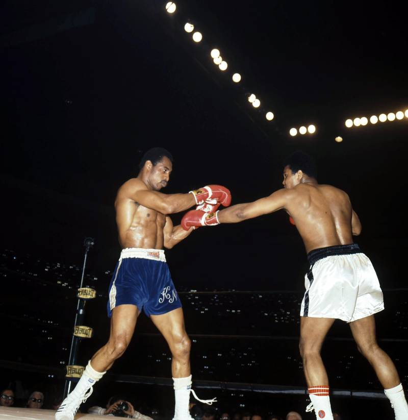SAN DIEGO - MARCH 31,1973: Muhammad Ali (R) throws a punch against Ken Norton during the fight at Sports Arena in San Diego,California. Ken Norton won the NABF heavyweight title by a SD 12. (Photo by: The Ring Magazine via Getty Images)