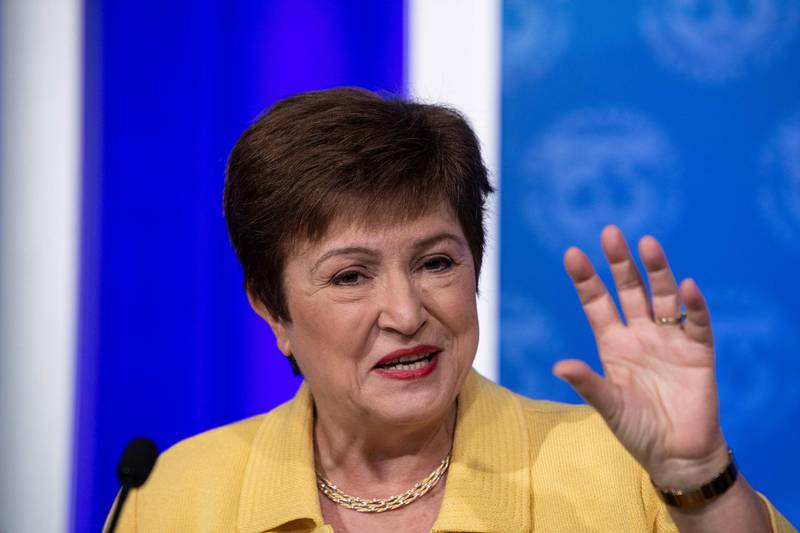 (FILES) In this file photo taken on March 04, 2020 IMF Managing Director Kristalina Georgieva speaks at a press briefing on COVID-19 in Washington, DC. - Despite some signs of recovery, the global economy faces continued challenges, including the possibility of a second wave of COVID-19, and governments should keep their support programs in place, IMF chief Kristalina Georgieva said July 16, 2020. (Photo by NICHOLAS KAMM / AFP)