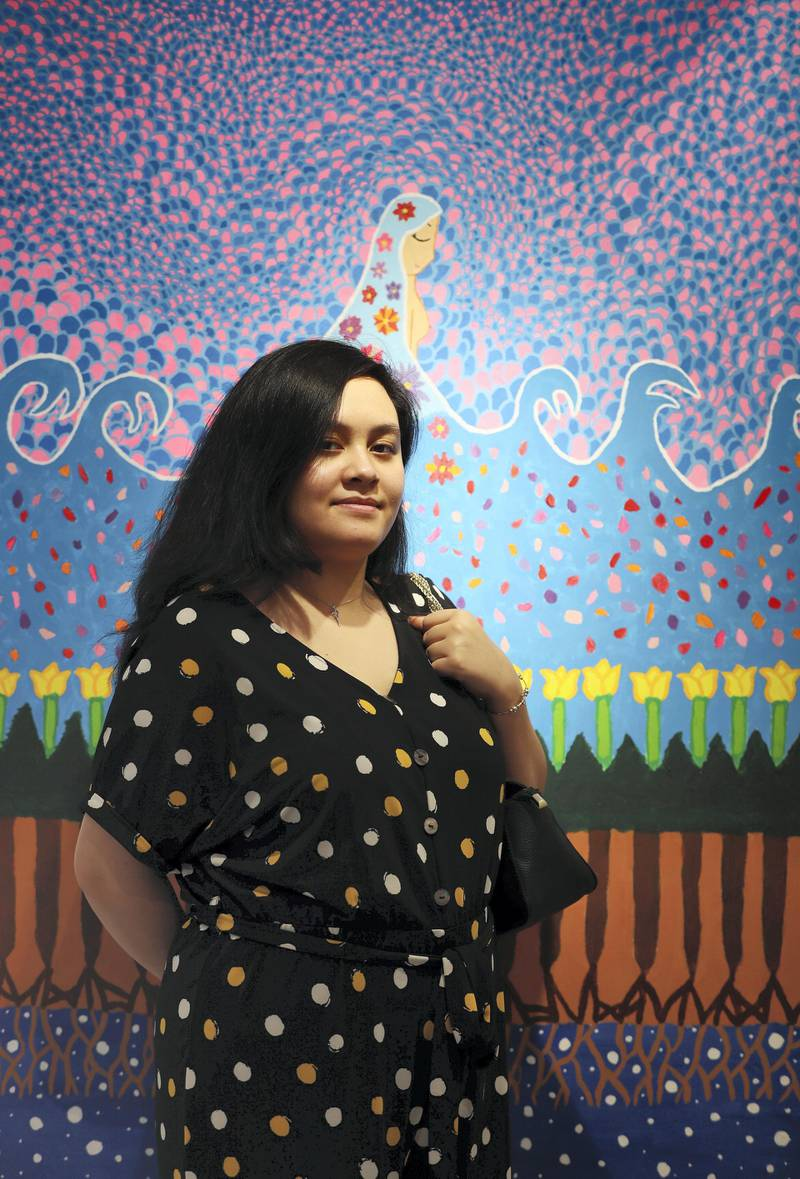 Dubai, United Arab Emirates - November 30, 2020: Mother earth by Mariam Ismail. Mawaheb, an art studio for people with disabilities, hosts its final exhibition before it closes. Monday, November 30th, 2020 in Dubai. Chris Whiteoak / The National
