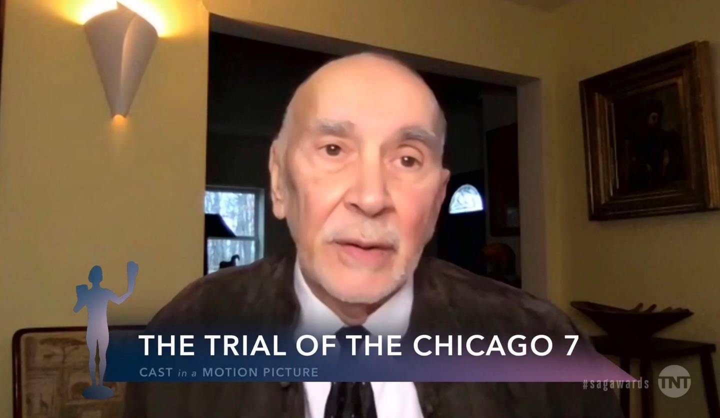"""In this video grab provided by the SAG Awards, Frank Langella, a member of the cast of """"The Trial of the Chicago 7,"""" accepts the award for outstanding performance by a cast in a motion picture during the 27th annual Screen Actors Guild Awards on April 4, 2021. (SAG Awards via AP)"""