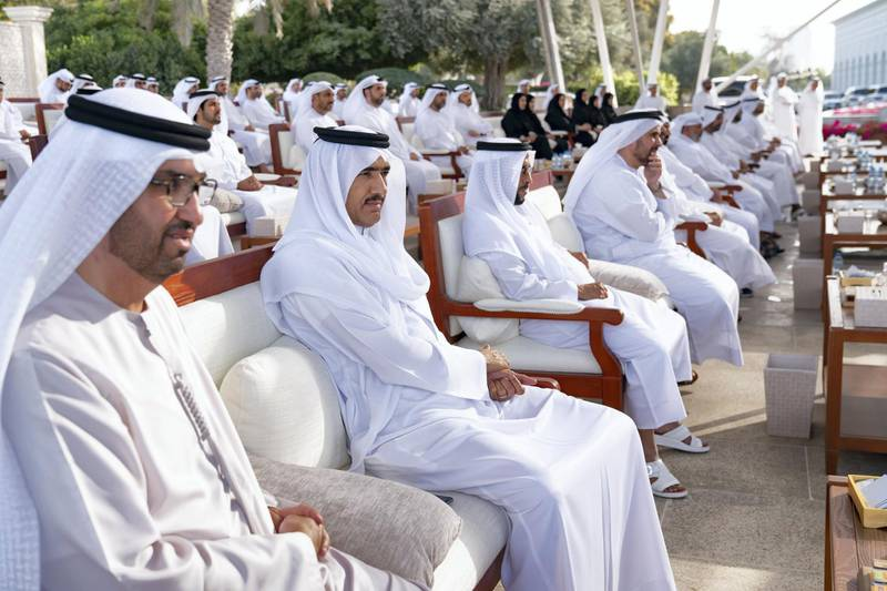 ABU DHABI, UNITED ARAB EMIRATES - March 16, 2020: (L-R) HE Dr Sultan Ahmed Al Jaber, UAE Minister of State, Chairman of Masdar and CEO of ADNOC Group, HE Ahmed Juma Al Zaabi, UAE Deputy Minister of Presidential Affairs and other guests, attend a Sea Palace barza which focused on the UAE's Covid19 response.  ( Mohamed Al Hammadi / Ministry of Presidential Affairs ) ---