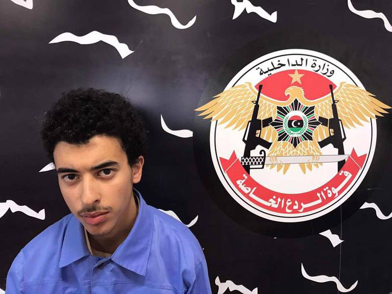 epa07722375 A handout photo made available by Libyan Special Deterrence Forces of the Interior Ministry shows Hashem Abedi, the younger brother of Manchester Arena bomber Salman Abedi after he was arrested in Tripoli, Libya, 24 May 2017 (issued 17 July 2019). According to reports, Hashem Abedi will be extradited from Libya to Britain over an arrest warrant for complicity in the May 2017 Manchester Arena attack that left 22 people killed.  EPA/LIBYAN INTERIOR MINISTRY HANDOUT  HANDOUT EDITORIAL USE ONLY/NO SALES