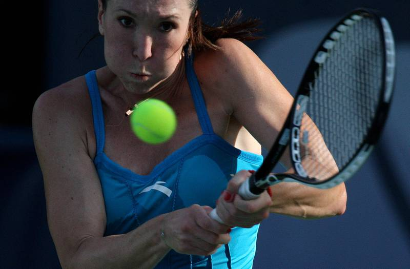 DUBAI, UNITED ARAB EMIRATES, Feb-16: Jelena Jankovic (SRB) in action against Aravane Rezai (FRA) in the second round of Barclays Dubai Tennis Championship at Dubai Tennis Stadium in Dubai. She won the match by 4-6,6-4,7-5  (Pawan Singh / The National) For Sports. Story by William