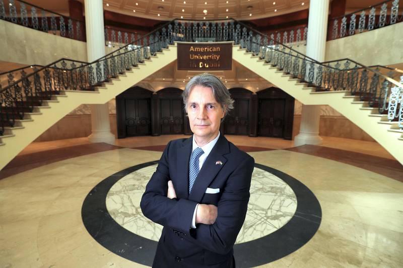 Dubai, United Arab Emirates - September 16, 2019: Dr David Schmidt is the new president of American University in Dubai. Monday the 16th of September 2019. Dubai. Chris Whiteoak / The National