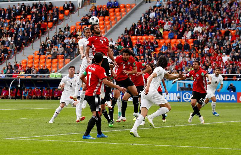 Soccer Football - World Cup - Group A - Egypt vs Uruguay - Ekaterinburg Arena, Yekaterinburg, Russia - June 15, 2018   General view of empty seats in the stand as Egypt's Marwan Mohsen wins a header against Uruguay's Martin Caceres    REUTERS/Jason Cairnduff