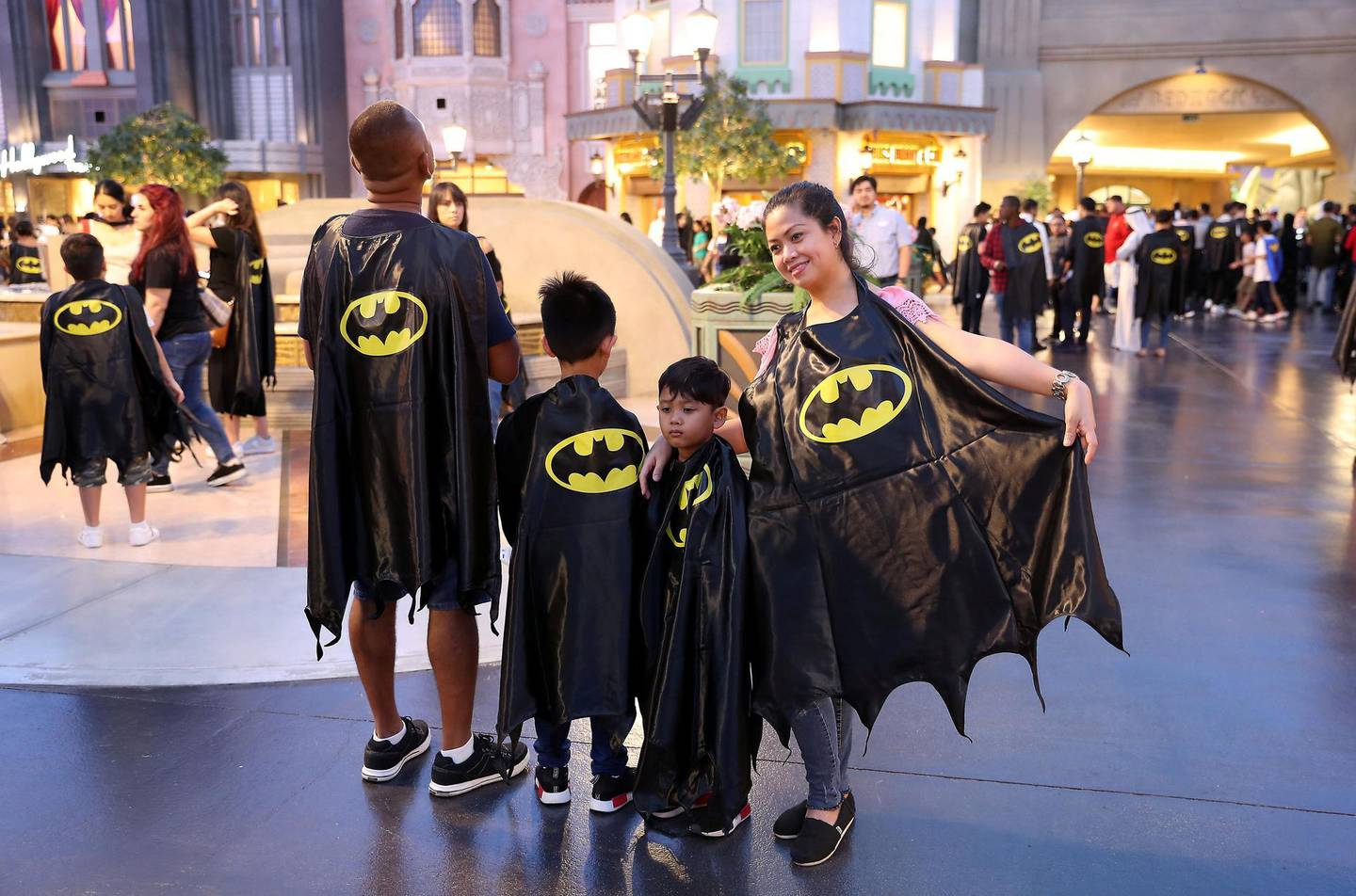 ABU DHABI ,  UNITED ARAB EMIRATES , SEPTEMBER 21 – 2019 :- People wearing capes and taking part in the Guinness World Record for the Batman's 80th anniversary held at Warner Bros  in Abu Dhabi. ( Pawan Singh / The National ) For News/Online/Instagram